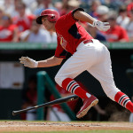 JUPITER, FL - MARCH 10: Peter Bourjos #8 of the St. Louis Cardinals runs to first base in the fifth inning of a game against the Detroit Tigers at Roger Dean Stadium on March 10, 2014 in Jupiter, Florida. (Photo by Stacy Revere/Getty Images)
